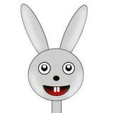 在白色背景的滑稽的被画的野兔 库存照片