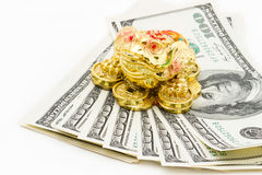 在白色背景的100美元与金钱青蛙 库存图片