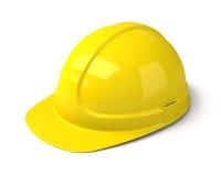 在白色背景的黄色安全帽 库存图片