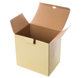 在白色背景的黄色开放纸板箱 免版税图库摄影