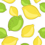 在白色背景的绿色石灰和柠檬果子 免版税库存图片