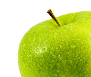 在白色背景的绿色苹果。 免版税库存图片
