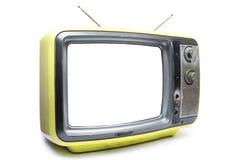 在白色背景的黄色葡萄酒电视 库存照片