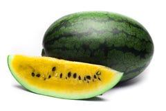 在白色背景的黄色西瓜 免版税图库摄影