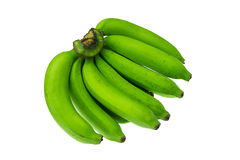 在白色背景的绿色香蕉捆绑 免版税库存图片