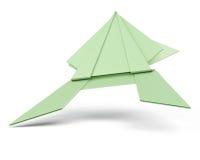 在白色背景的绿色origami青蛙 3d回报image.colorful圆筒 免版税图库摄影