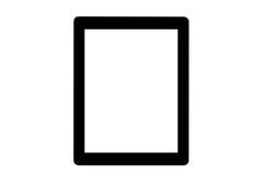 在白色背景的黑ipad 库存图片