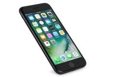 在白色背景的黑iPhone 7 免版税库存图片