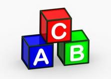 在白色背景的ABC立方体3d 免版税库存图片