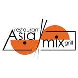 在白色背景的AsiaMix商标 库存照片