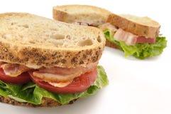 在白色背景的BLT三明治 免版税库存图片