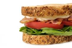在白色背景的BLT三明治 库存图片