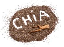 在白色背景的Chia种子 免版税库存图片