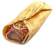 在白色背景的Doner kebab 免版税图库摄影