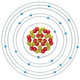 在白色背景的Kalium (不稳定的同位素)原子 免版税库存照片