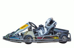 在白色背景的Karting,在位子的安全帽 免版税库存照片