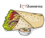 在白色背景的Kebab 阿拉伯烹调 在剪影样式的五颜六色的传染媒介例证 向量例证