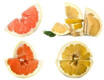在白色背景的Pamelo大和水多的果子,在一板料的不同的看法 没有背景的柑橘明亮的颜色 库存照片