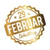 在白色背景的Schalttag 29 Februar Stempel德国金子 库存例证