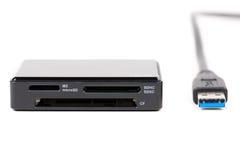 USB 3.0有锎和SD (微SD)卡片的卡片阅读机,被隔绝  免版税库存图片