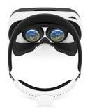 在白色背景的VR虚拟现实耳机顶视图平的位置 库存照片