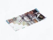 在白色背景相当100以色列锡克尔价值的一张钞票隔绝的 图库摄影