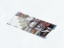在白色背景相当100以色列锡克尔价值的一张钞票隔绝的 免版税库存图片