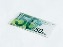 在白色背景相当50以色列锡克尔价值的隔绝的钞票的一个新型 库存图片