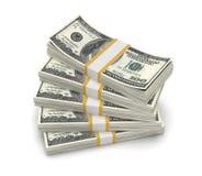 在白色背景美国隔绝的堆美元 免版税库存图片