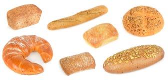 在白色背景被烘烤隔绝的面包 免版税库存照片