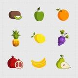 在白色背景设置的五颜六色的果子象 免版税库存照片