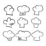 在白色背景设置的厨师帽子 免版税库存图片