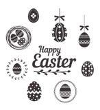 在白色背景设置的愉快的复活节彩蛋 免版税库存照片