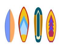 在白色背景设置的现代五颜六色的冲浪板 图库摄影