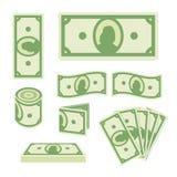 在白色背景设置的绿色美元钞票 纸币汇集 现金象 平的样式 皇族释放例证
