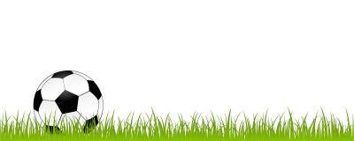在白色背景足球隔绝的绿色草甸的橄榄球 库存例证