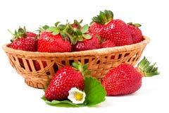 在白色背景隔绝的一个柳条筐的草莓 免版税库存图片