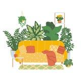 在白色背景隔绝的一个舒适客厅的内部 室内植物趋向décor  在的传染媒介例证 库存例证