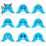 在白色背景隔绝的不同的动画片企鹅的汇集 不同的情感,表示 芳香树脂样式 向量 库存例证