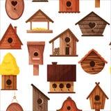 在白色背景隔绝的不同的木手工制造鸟房子的无缝的样式 动画片自创嵌套箱 向量例证