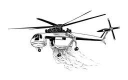 在白色背景隔绝的专业火直升机手拉的剪影  详细的葡萄酒蚀刻样式图画 皇族释放例证