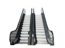 在白色背景隔绝的两个现代自动扶梯正面图  库存照片