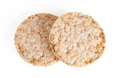 在白色背景隔绝的两种五谷薄脆饼干 免版税库存图片