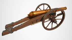 在白色背景隔绝的中世纪大炮 3d翻译 免版税库存图片
