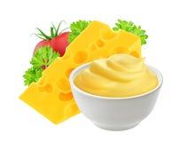 在白色背景隔绝的乳酪调味料 库存图片