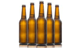 在白色背景隔绝的五个玻璃啤酒瓶 库存图片