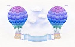 在白色背景隔绝的五颜六色的热空气气球 额嘴装饰飞行例证图象其纸部分燕子水彩 热空气迅速增加与在蓝天的垂直的横幅 库存照片