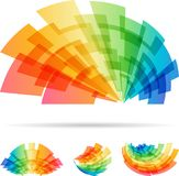 在白色背景隔绝的五颜六色的集合摘要元素 库存图片