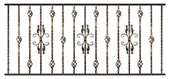 在白色背景隔绝的伪造的产品样品,镀金的作用 台阶扶手栏杆或阳台的装饰元素 免版税库存照片