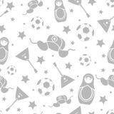 在白色背景隔绝的俄国灰色无缝的样式墙纸 免版税库存图片